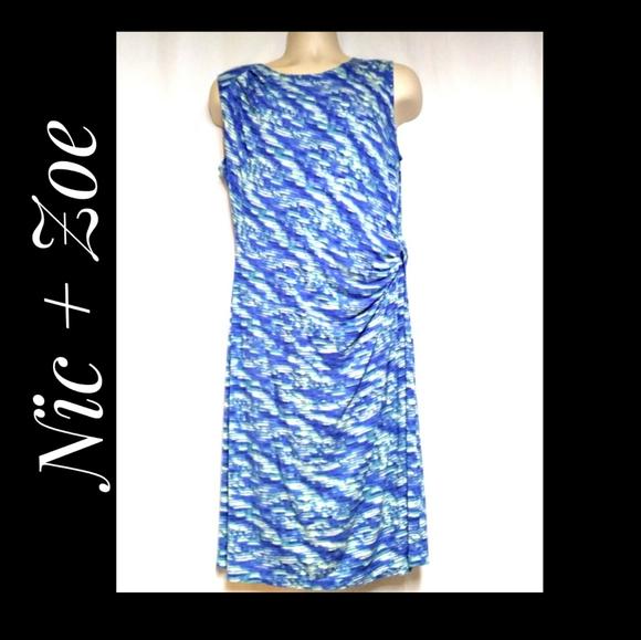 Nic + Zoe Water Waves Side Twist Dress Blue White